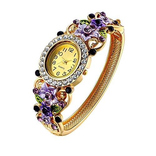 Oven Moda Crystal Bangle Manschette Armband Quarzuhr für Frauen Damen Gold plattiert Blume Schmuck Perimeter:20.5cm(Purple)
