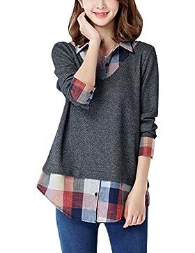 Mujer Camisas a Cuadros Blusa De Moda De Manga Larga Casual Camisetas