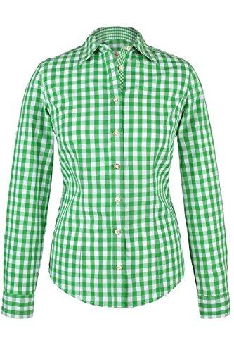 Almsach Damen Trachten-Bluse grün-weiß kariert \'Maria\', hellgrün, 44