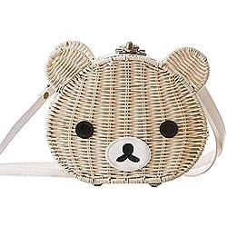 qiulv Bolso tejido de la paja de la urraca de Crossbody del oso bolso tejido de las mujeres Forme el bolso simple de la playa de la armadura, white mouth