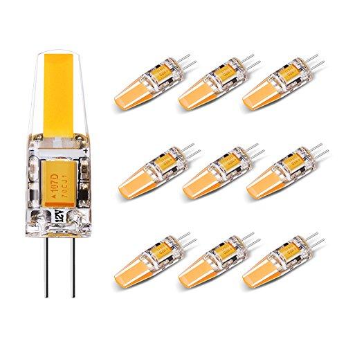 Yuiip Ampoule LED G4 1.8W DC/AC 12V Equivalent à Lampe Halogène 20W Blanc Chaud 2700 K COB LED Lampe 200LM G4 Lumière Non Dimmable, 360° Angle de Faisceau, Pack de 10 [Classe énergétique A++]
