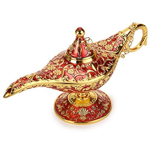 uslampe im magischen Aladdin-Design mit Geschenkbox, exquisitem Retro-Aladdin-Licht, Wunderlampe, Heimtextilien, Tischdeko, Kunsthandwerk, rot ()