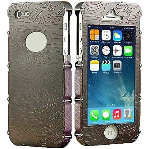 Wkae Case & Cover Showkoo Armatura Serie intagliato a mano cassa del cuoio genuino di alluminio del respingente del metallo + per iPhone 5 e 5s &SE &SE ( SKU : S-IP5G-1502D )