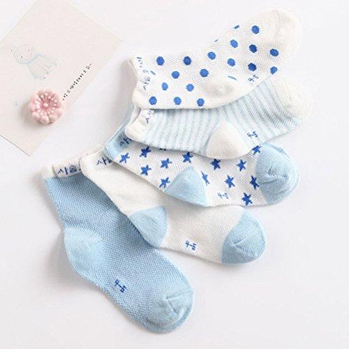 ARAUS Calzini Da Unisex Bambino Infantil Neonato Antiscivolo Invernali Di Cotone Caldi Paio Da 5 (0-6 Anni) Blu