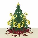 Tarjeta de Felicitación Con Árbol de Navidad Emergente 3D – Etiquetas de Regalo – Accesorio de Papelería y Bricolaje - Articulo de Apoyo de Decoración de Fiesta Navideña y Temporada Festiva