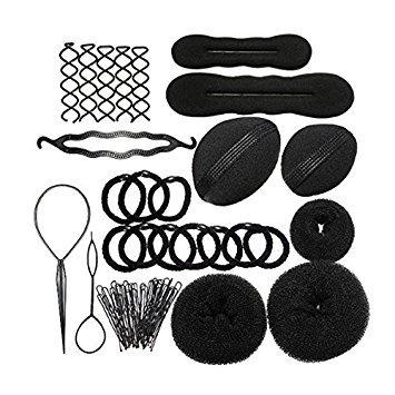 Haar Design Werkzeuge Set - SODIAL(R)Haarknoten Hersteller Roller Zopf Twist Gummibaender Stifte Haar Design Werkzeuge Set Schwarz