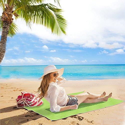 Codomoxo® Magic Sand Free Toallas de playa libre de arena, PVC, 1,5 x 2 m, para picnic, camping, playa, color mate, verde