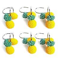 Lorjoyx 12pcs Yellow Pineapple Shower Curtain Hooks Cute Fruit Design pineapple bathroom hooks Shower Hooks Decorative Curtain Hanger