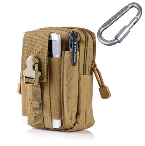 Besteny Taktische EDC Tasche Molle Gürteltasche Hüfttasche mit Aluminium Karabiner Mehrzweck-Dienstprogramm Gadget 1000D Material für Outdoor Wandern Trekken Camping Reisen (Khaki)