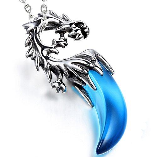 Cupimatch Herren Edelstahl Halskette, Gotik Drachen Zahn Anhänger mit 54cm Kette Halsband, Silber...