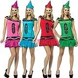 ILOVEFANCYDRESS Frauen Crayon KOSTÜM VERKLEIDUNG -Crayola® Glitz & Glitter Tutu Kleid=EINHEITSGRÖSSE-ERHALTBAR IN 4 Farben= ODER ALLE 4 ZUSAMMEN = GRÜN