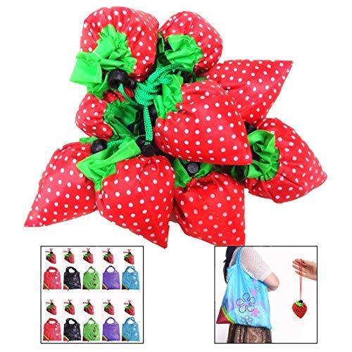 LHKJ 12 Stück Faltbar Einkaufstaschen,ECO Taschen Erdbeere Shopping Bag,Wiederverwendbare Umhängetasche - Eco Tasche