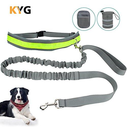 Joggingleine KYG  Hundeleine Joggen mit reflektierendem Bauchgurt  für Hunde elastisch 145- 180 CM Leine für Laufen Joggen Wandern und Radfahren (Hund Kinderwagen Joggen)