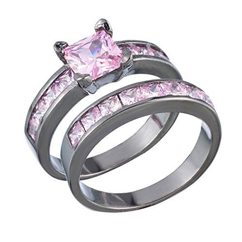 Für Ringe 10 Größe 9 Mädchen (1Paar Fashion Schwarz Ring für Cubic Zirkon Rechteck Ring Mit Rosa Edelstein Schmuck 5–11Größen Ring Size 6)