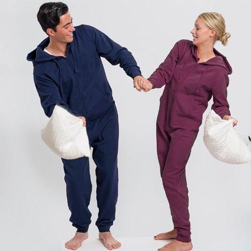 Nouvelle combinaison d'hiver pour homme, femme et confortable à capuche tout-en-un pyjama combinaison de sport Bordeaux
