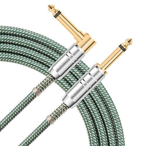 AIHIKO Gitarre Jack Lead 10Ft / 3m 6,35 mm Bass AMP 1/4 gerade rechtwinklig Kabel mit Gold Plugs für Mandolin elektrische Instrumententastatur, grün / weiß Tweed