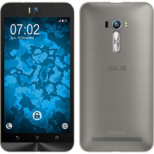 PhoneNatic Case für ASUS Zenfone Selfie Hülle Silikon grau, Slimcase + 2 Schutzfolien