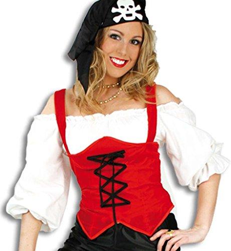 "Preisvergleich Produktbild Damenkostüm Damentop ""Rosana"" Farbe rot Mieder-Oberteil/ Korsage mit schwarzen Bändern Figurformend passt perfekt zu diversen Kostümen z.B. Piratin (36)"