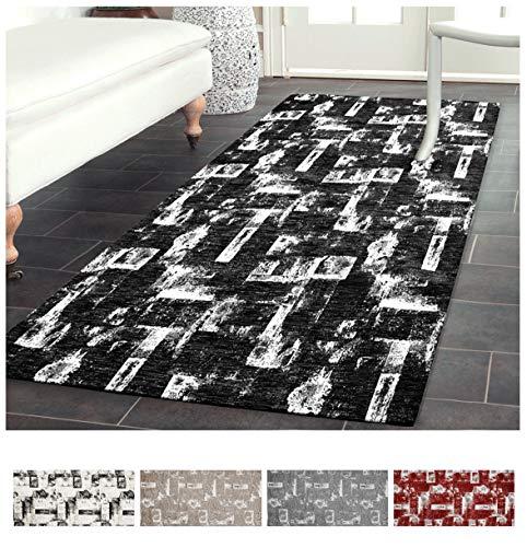 EMMEVI Teppich Küchenteppich Wohnzimmer Wohnzimmer Schlafzimmer Modern aus Chenille Retro Antirutsch Vintage 60x140 cm Schwarz -