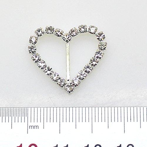 25pcs 27mm x 23mm a forma di cuore Strass fibbia scorrevole per Wedding Invitation Lettera - Diamante Del Nastro Scorrevole