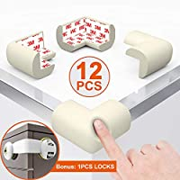 Corner Protectors for Kids Foam White Corner Guards Baby Safety Corner Bumpers Child Proof Edge Guard Cushion for Furniture, Table, Desk, Beds, Walls, 12pcs