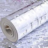ZLJTYN Glitter gold foil luxe mosaïque papier peint papier peint argent métallique treillis d'or l'utilisation du commerce par gramme de papier gris clair,mur,5,3m²...
