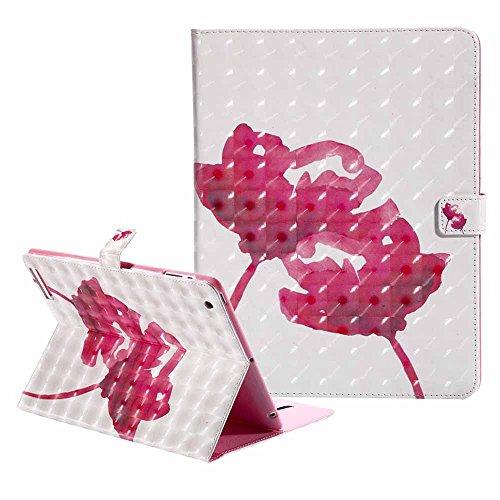 iPad 2 / 3 / 4 Coque Ultra Svelte Bling Coloré 3D Modèle PU Cuir Retourner Coque Portefeuille Stand Protecteur Étui avec Réveil/Sommeil Automatique pour Apple iPad 2 / iPad 3 / iPad 4 Rose Rouge