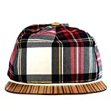Baseball Cap rot Schottenkaro mit edlem Holzschild - Made in Germany - Unisex - Sehr leicht & bequem - One size fits all Snapback | Lou-i Tartan Cappy