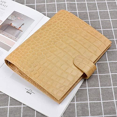 EUHOKD Notizbuch Echtes Leder Binder Ringe Notebook A5 Größe Agenda Organizer Rindsleder Tagebuch Journal Sketch Planer Mit Geld Tasche Gelb A5 190 X 235 Mm