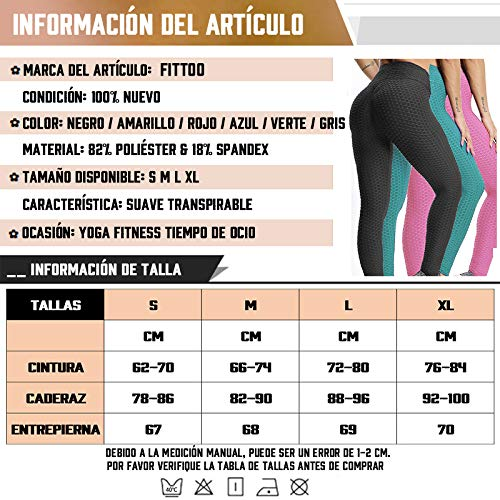 51ZX%2Brxu4cL - FITTOO Mallas Pantalones Deportivos Leggings Mujer Yoga de Alta Cintura Elásticos y Transpirables para Yoga Running Fitness con Gran Elásticos1090
