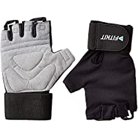 Fitkit Unisex Adult Weight Lifting Gloves With Extra Long Wrist Strap (Pair) - Black, Medium