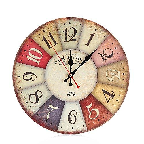 Uhr Vintage Style Nicht Ticken stille antike Holz Wanduhr für Home Kitchen Office Haus Garten Küche Zubehör Uhren Alarm elektronische (Weiße Fondant Antike)