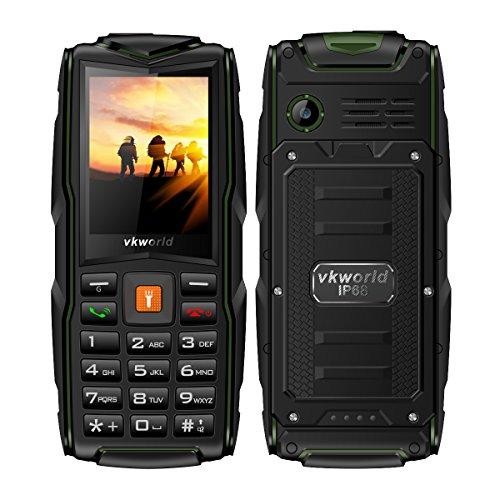 Vkworld Stone V3 Outdoor Handy (2017er Version),2,4 Zoll Display,IP68 Wasserdicht,staubdicht, sturzfest,(große Tasten, Tri-Sim fähig, Powerbank USB Port, 2.0MP kamera,8GB Speicherkarte) Ohne Vertrag GRÜN