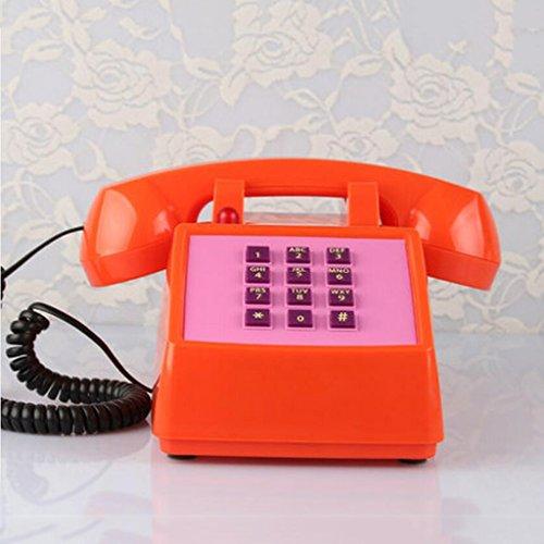 LIU Yu·casa Creativa, Creative Naranja plástico casa decoración botón marcar casa Hotel Oficina Retro teléfono