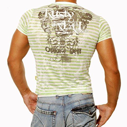 Rusty Neal Polohemd 508 T-Shirt mit V-Neck gestreift Polo T-Shirt Hemd NEU Grün