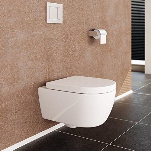 NEG Hänge-WC Uno11 (Tiefspüler) Toilette mit geschlossenem Unterspülrand, Duroplast Soft-Close-Deckel und Nano-Beschichtung - 4