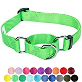 Blueberry Pet Sicherheitstraining Martingale Hundehalsband Klassisch Einfarbig 2 cm M Basic Nylon Hundehalsband Langlebig - Neongrün
