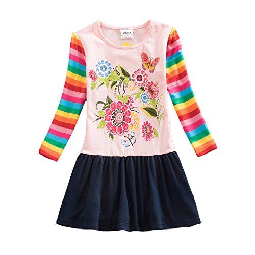Neat Mädchen Blumen Langarm Baumwolle Kleid 2-8 Jahre LH5803PINK 7T
