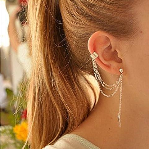 boucles d'oreilles punk rock de la chaîne de feuilles or et argent pour les femmes ou les filles-2 paires boucles d'oreilles