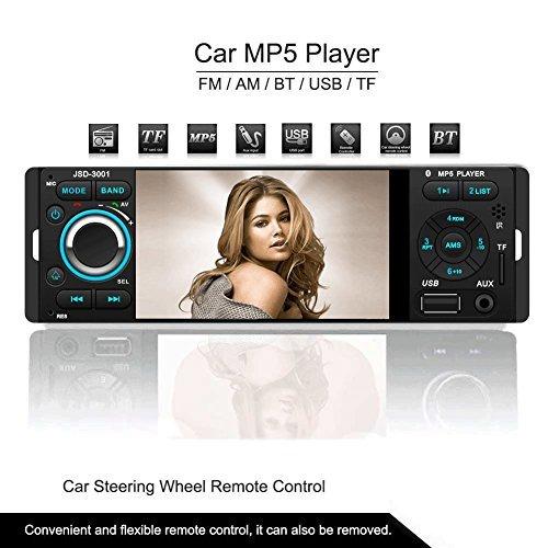 Atian 10,4cm 1080p Intégré au Tableau de bord radio, Bluetooth, lecteur MP3/MP4/MP5/USB/SD AM/FM stéréo de voiture prise en charge USB carte SD Entrée auxiliaire télécommande sans fil