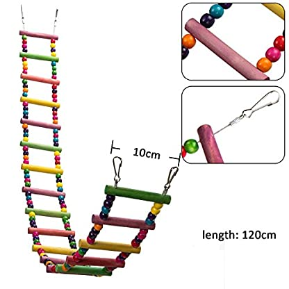 MEWTOGO 1.2 M Colorful Wooden Pet Ladder Bird Toy and a Swing - 18 Steps Rainbow Hanging Climbing Bridge for Parrot Training 2