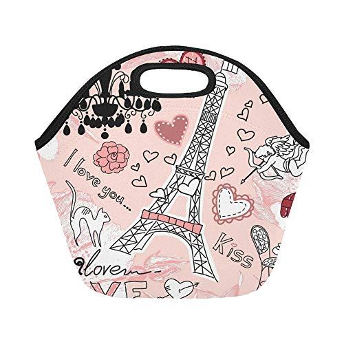 Isolierte Neopren-Lunch-Tasche Love Paris Doodles Große wiederverwendbare thermische dicke Lunch-Tragetaschen Für Lunch-Boxen Für draußen, Arbeit, Büro, Schule