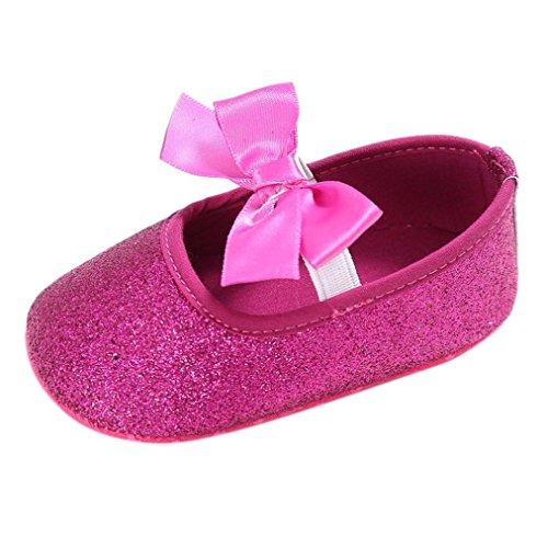 Koly_Ragazza del bambino pattini della greppia di fiore morbida suola anti-scivolo baby Sneakers (SIZE13, Rosa caldo)