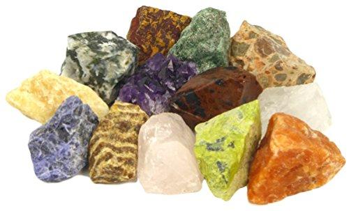Mineralien Set mit Bonus Amethyst Kristall | 12 ausgesuchte Rohsteine plus Amethyst-Stück für Mineraliensammler und Edelstein-Liebhaber | Geschenk, Beigabe Give-away, Schatzsuche Dekoration (Sammlung Edelstein)