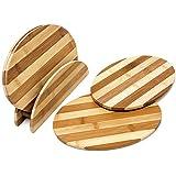 Relaxdays 10018876 - Juego de 4 tablas de bambú, con bastidor incluido, 25 x 18 x 0,5 cm