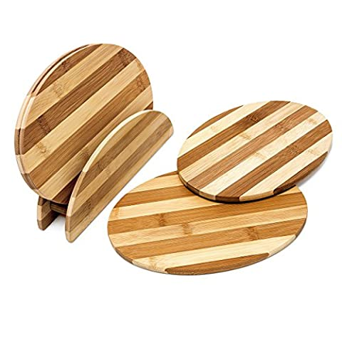 Relaxdays Set of 4 Oval Bamboo Chopping Boards with Stand, HxWxD: 0.5 x 25 x 18 cm, Striped, Easy to Clean, Brown