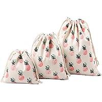 gespout 3pieza Natural yute Bolsa Bolsa de tela bolsa algodón Lino bolsas bolsitas de regalo en 3diferentes tamaños para joyas de lavanda Regalos Fiesta Cumpleaños dulces bolsillos, piña Imprimir