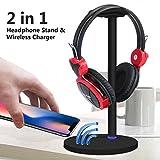 Teepao Slim Gaming Headset mit Qi Wireless-Ladegerät mit Bluetooth-Kopfhörer mit Micro-USB-Kopfhörer zum Aufhängen Halter für Samsung S5S8Plus iPhone X 8-Gamer-Kinder mit LED