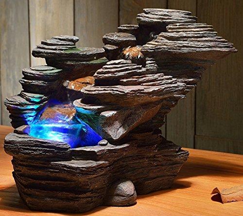 Zimmerbrunnen River LED Farb Beleuchtung 38 cm