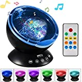 Ocean Wave Projector with Remote Control, Unionshopping Night Light Sleep comfort Hypnosis Lamp with Built-in Music Player Multi-color Decoration Lamp for Kids Adults Nursery Bedroom Living Room Party